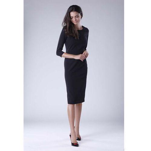 Czarna Klasyczna Dopasowana Sukienka Midi