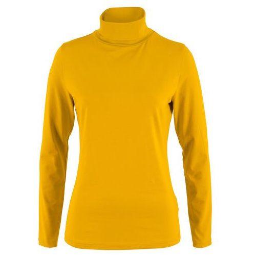 Shirt z golfem, długi rękaw bonprix żółty curry, w 8 rozmiarach