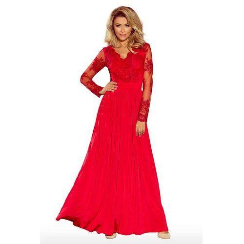 Czerwona wieczorowa sukienka maxi z koronkową górą marki Numoco