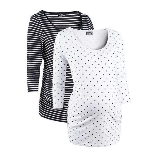 Shirt ciążowy biznesowy (2 szt.), bawełna organiczna biały w groszki + w paski marki Bonprix
