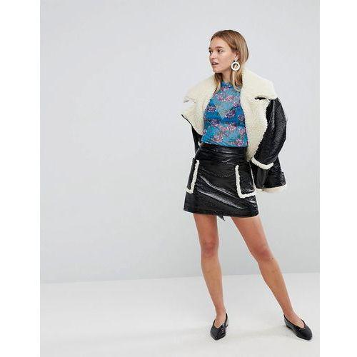 Monki Shearling Pocket Faux Leather Skirt - Black