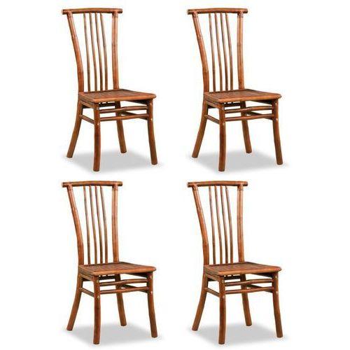 Vidaxl Krzesła z bambusa, 4 szt., 43 x 56 x 98 cm, brązowe