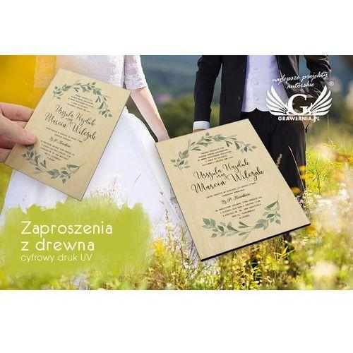 Grawernia.pl - grawerowanie i wycinanie laserem Zaproszenia ślubne z drewna - cyfrowy druk uv - zap024