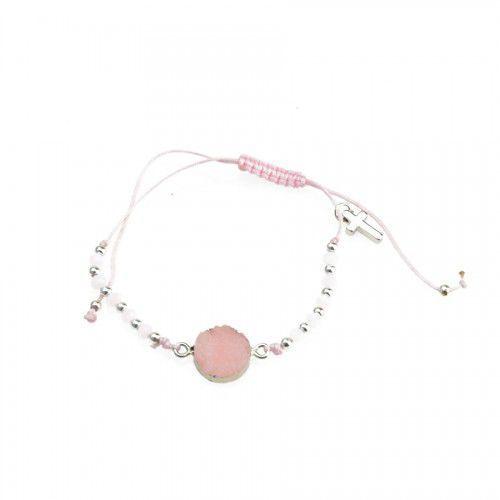 Dziesiątka różańca bransoletka religijna z różową cyrkonią marki Produkt polski - OKAZJE