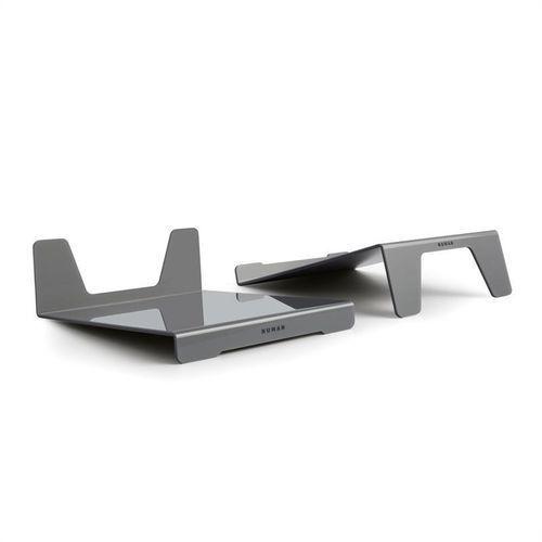 Numan Retrospective – para stojaków głośnikowych ze szkła akrylowego srebrne pochylane (4260486150026)