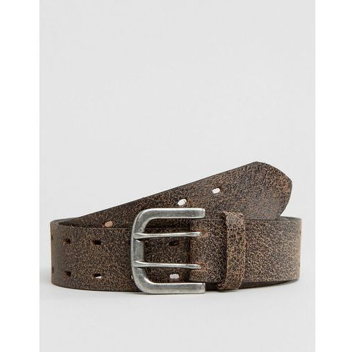 Asos leather wide belt in brown with vintage finish - brown