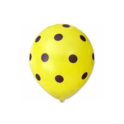 Dp Balony pastelowe żółte w fioletowe grochy - 30 cm - 5 szt.