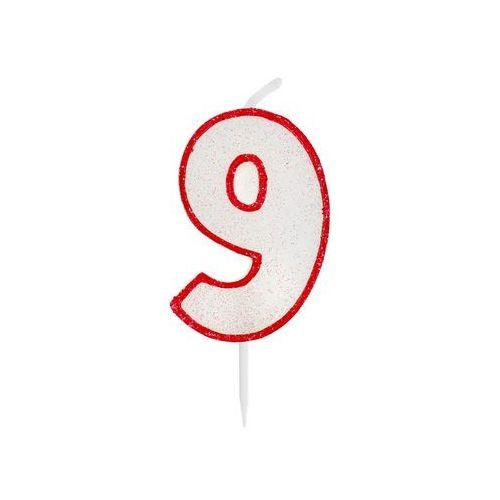 Godan Świeczka cyferka z brokatem czerwony kontur 9