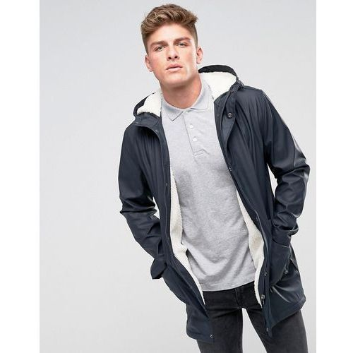 shine fishtail hooded mac with borg lining - navy marki French connection