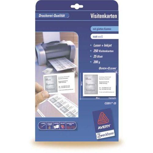 AVERY Papier wizytówkowy Quick&Clean, 85x54 mm, białe matowe, 250g, 80 wizytówek, opakowanie 10 ark.