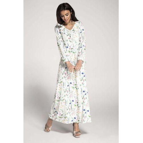 57f3afe303 Długa biała sukienka w kwiaty z falbanka.