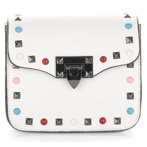 Modne włoskie torebki skórzane listonoszki z kolorowym paskiem marki Vera pelle