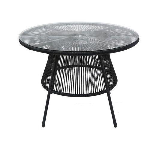 Stół ogrodowy KELIOS z włókien technorattanu – czarny