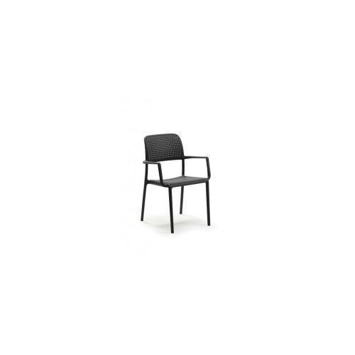 Krzesło Bora z podłokietnikami czarne, kolor czarny