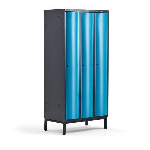 Metalowa szafa ubraniowa curve, na nóżkach, 3x1 drzwi, 1940x900x550 mm, niebieski marki Aj produkty