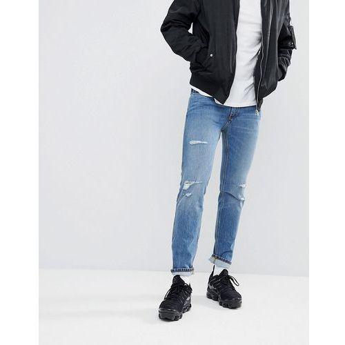 Hugo skinny fit stretch distressed jeans in blue - blue