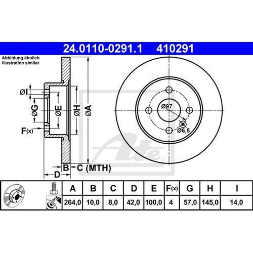 TARCZA HAM ATE 24.0110-0291.1 OPEL ASTRA H TWIN SPORT 1.6 06-, 1.8 05-, MERIVA 1.3CDTI 05-, 1.6 06-, 1.7DTI 03-