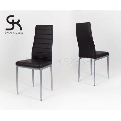 Sk design  ks001 czarne krzesło z ekoskóry malowane nogi - czarny \ szary
