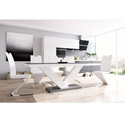 Stół rozkładany Victoria szaro-biały wysoki połysk
