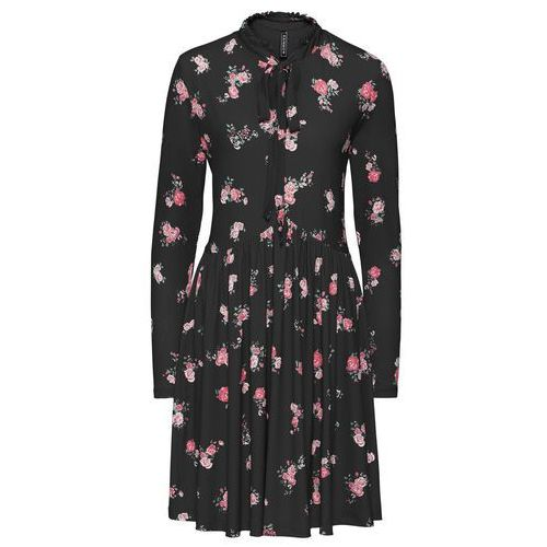 Sukienka shirtowa w kwiaty bonprix czarny w kwiaty, kolor wielokolorowy