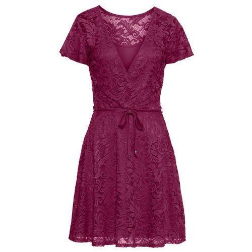 Sukienka z materiału o wyglądzie koronki niebieski marki Bonprix