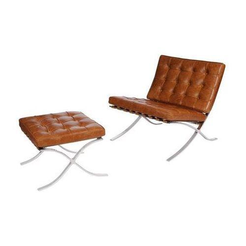 Fotel ba1 z podnóżkiem skóra vintage (jasnobrązowy) d2 marki D2.design