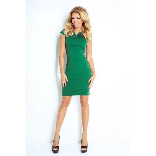 Numoco Zielona sukienka klasyczna dopasowana z zakładkami