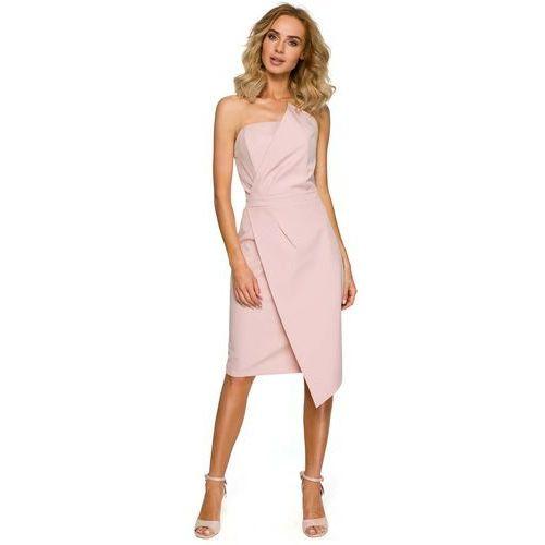 Pudrowa Wieczorowa Asymetryczna Sukienka z Odkrytymi Ramionami, w 5 rozmiarach