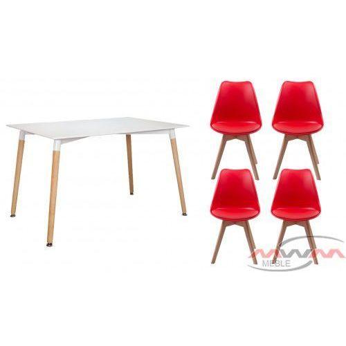 Meblemwm Zestaw stół skandynawski em10 + 4 czerwone krzesła 53e-7