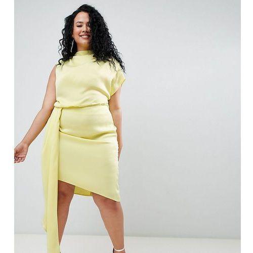 Asos curve Asos design curve satin drape midi dress with sash detail - green