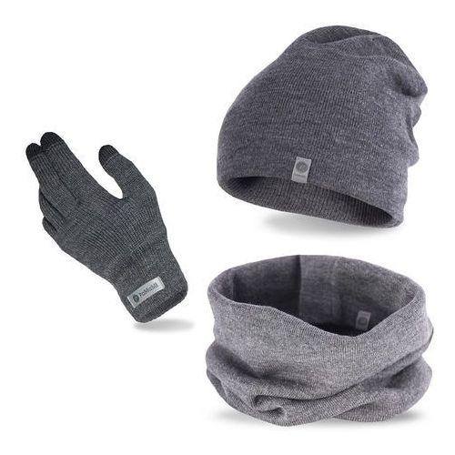 Pamami Komplet męski - czapka, komin i rękawiczki - szary (5902934068741)