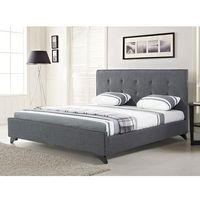 Nowoczesne łóżko tapicerowane ze stelażem 160x200 cm szare AMBASSADOR