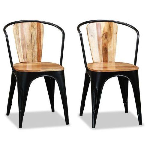 Vidaxl krzesła do jadalni, lite drewno akacjowe, 2 szt. w stylu tolix