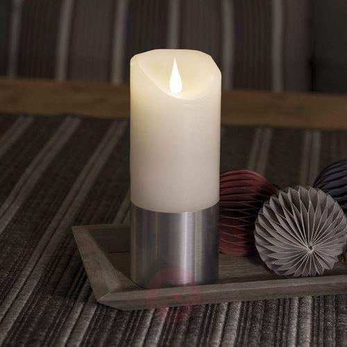 Świeca woskowa LED z banderolą, srebrna, 17,5 cm