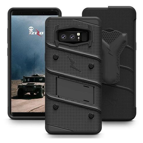Zizo Bolt Cover - Pancerne etui Samsung Galaxy Note 8 (2017) ze szkłem 9H na ekran + podstawka & uchwyt do paska (Black/Black), kolor czarny
