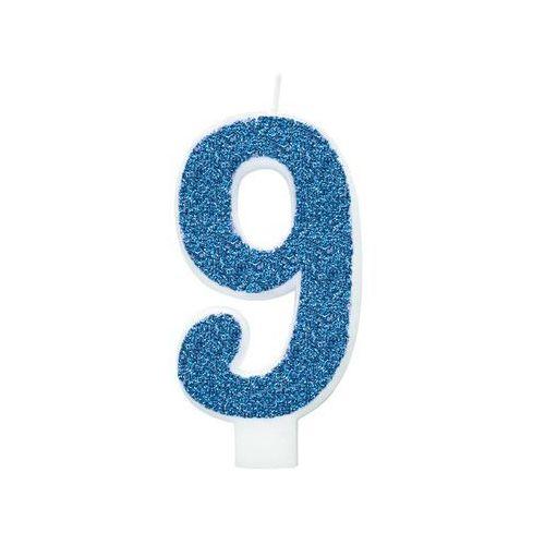 Unique Świeczka cyferka brokatowa niebieska - 9 - 1 szt.
