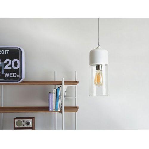 Lampa wisząca ze szkła biała i przezroczysta PURUS (4260580929610)