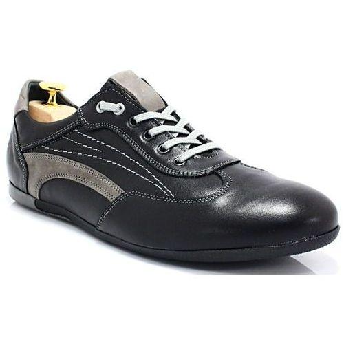 296 czarny-szary - sportowo eleganckie skórzane buty - szary ||czarny marki Kent
