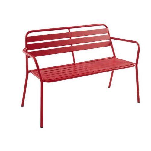 Vente-unique Ławka ogrodowa mirmande z metalu – kolor czerwony