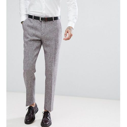 harris tweed slim suit trousers in dogstooth - grey marki Heart & dagger