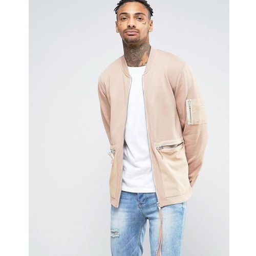 jersey bomber jacket with woven pockets and long zip pull - beige, Asos