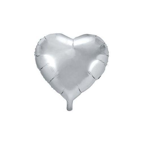 Balon foliowy serce srebrne - 45 cm - 1 szt. marki Party deco