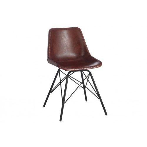 Krzesło skórzane gandawa brązowe marki J- line