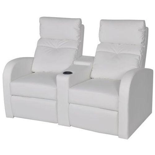 Vidaxl fotele kinowe biała eko skóra dla 2 osób z podłokietnikiem