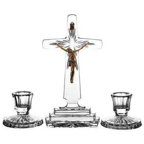 Komplet kolędowy krzyż i 2 świeczniki kryształ (0532) z kategorii Dewocjonalia