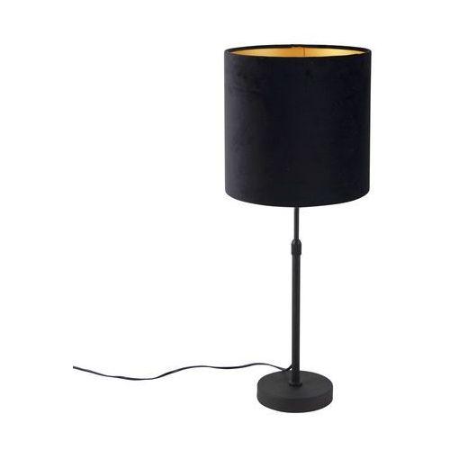 Qazqa Lampa stołowa regulowana czarna klosz welurowy czarny 25cm - parte