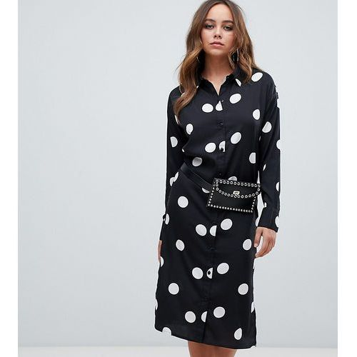 long sleeve shirt midi dress in polka dot - multi, Boohoo