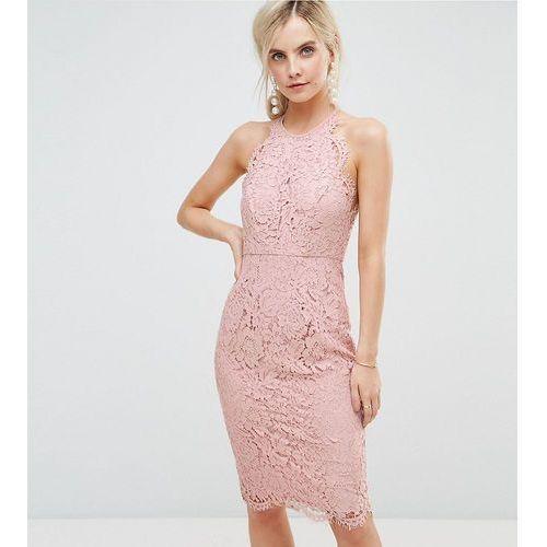 scallop pinny lace pencil midi dress - beige, Asos petite