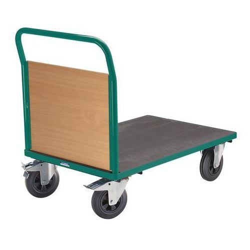 Wózek platformowy, 1 ścianka czołowa, ogumienie pełne, dł. x szer. 1250x800 mm,