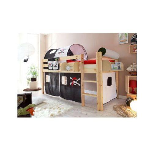 TTICAA Łóźko piętrowe MALTE sosna naturalny - Pirat czarny/biały z kategorii Pozostałe meble do pokoju dziecięcego